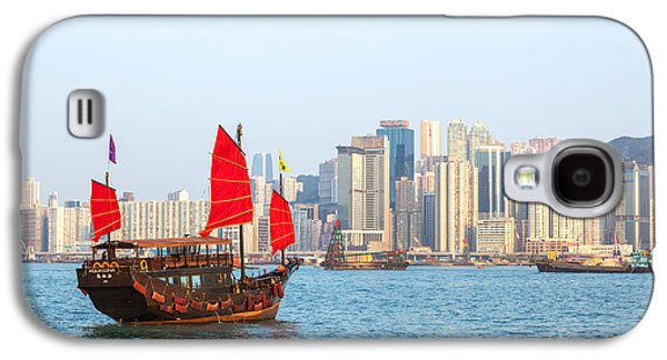 Chinese Junk Boat Sailing In Hong Kong Harbor Galaxy S4 Case by Matteo Colombo