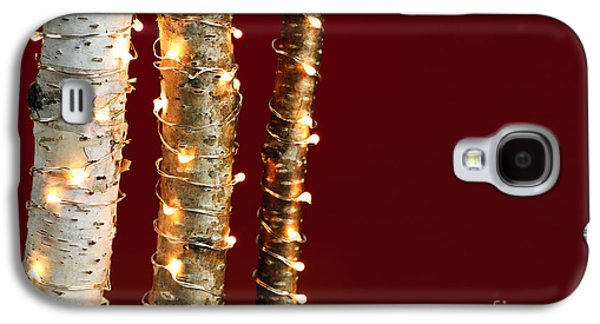 Twinkle Galaxy S4 Cases - Christmas lights on birch branches Galaxy S4 Case by Elena Elisseeva