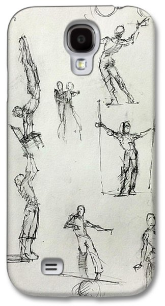Juggling Drawings Galaxy S4 Cases - Circus Studies Galaxy S4 Case by H James Hoff