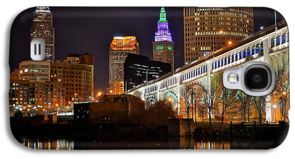 Terminal Photographs Galaxy S4 Cases - Cleveland over the Cuyahoga Galaxy S4 Case by Frozen in Time Fine Art Photography