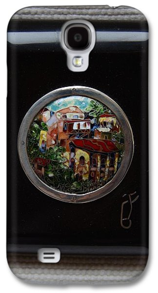 Old Glass Galaxy S4 Cases - Cloisonne Enamel Fine Miniature Paysage in Ebonite Frame Galaxy S4 Case by Nino Berdzenishvili