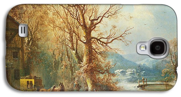Christmas Eve Paintings Galaxy S4 Cases - Coach and Horses in a Snowy Landscape Galaxy S4 Case by Guido Hampe
