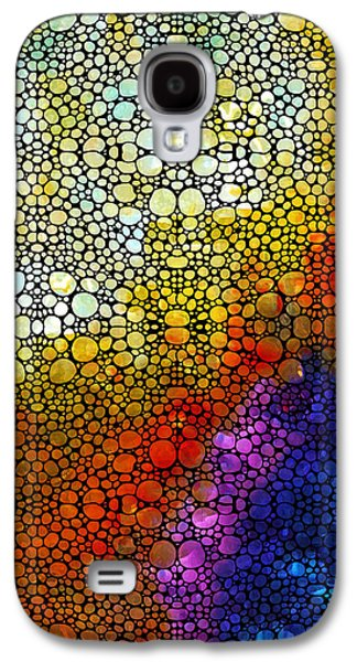 Stone Digital Art Galaxy S4 Cases - Colorful Stone Rockd Abstract Art By Sharon Cummings Galaxy S4 Case by Sharon Cummings