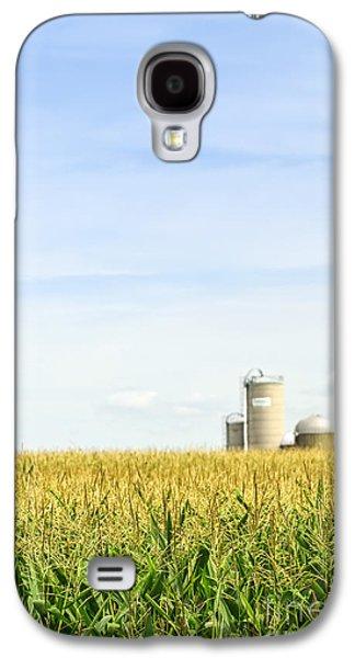 Silos Galaxy S4 Cases - Corn field with silos Galaxy S4 Case by Elena Elisseeva