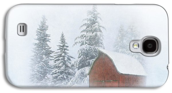 Red Barn In Winter Photographs Galaxy S4 Cases - Country Winter Galaxy S4 Case by Angie Vogel