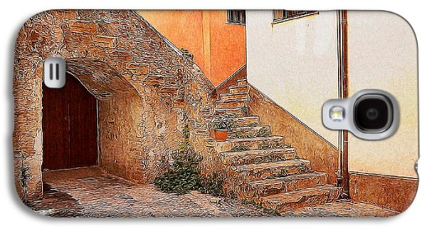 Garden Scene Digital Art Galaxy S4 Cases - Courtyard of Old house in the ancient village of Cefalu Galaxy S4 Case by Stefano Senise