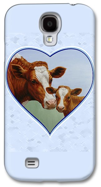 Cow And Calf Blue Heart Galaxy S4 Case by Crista Forest