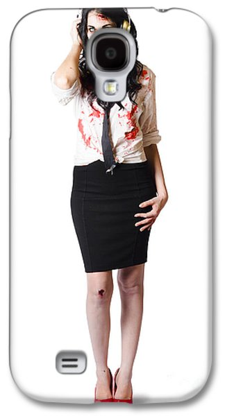 Full Skirt Galaxy S4 Cases - Creepy female zombie with headphones Galaxy S4 Case by Ryan Jorgensen