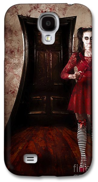 """""""haunted House"""" Galaxy S4 Cases - Creepy woman with bloody scissors in haunted house Galaxy S4 Case by Ryan Jorgensen"""