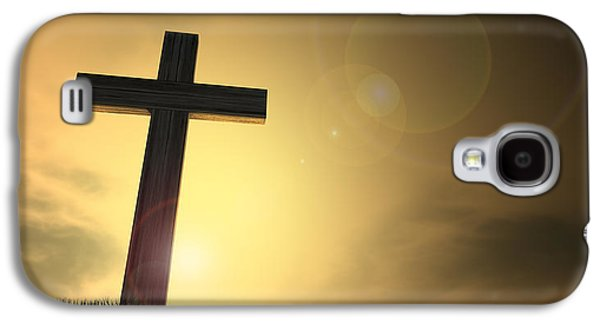 The Wooden Cross Galaxy S4 Cases - Crucifix On A Hill At Dawn Galaxy S4 Case by Allan Swart
