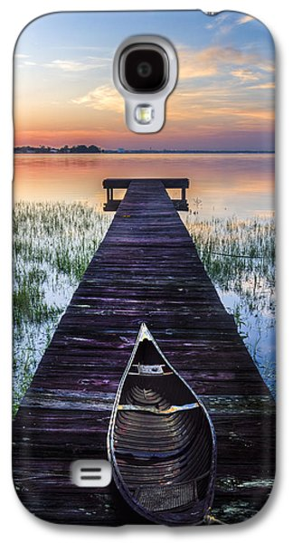Sailboats At The Dock Galaxy S4 Cases - Dawn Galaxy S4 Case by Debra and Dave Vanderlaan