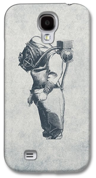 Aquatic Drawings Galaxy S4 Cases - Deep Sea Diver - Nautical Design Galaxy S4 Case by World Art Prints And Designs