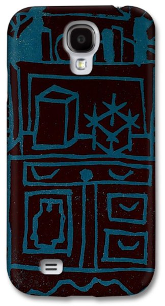 Linocut Paintings Galaxy S4 Cases - Desk Galaxy S4 Case by Erika Chamberlin