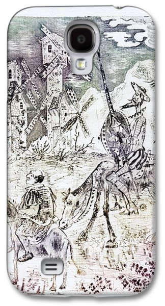 Drypoint Galaxy S4 Cases - Don Quixote Galaxy S4 Case by Milen Litchkov
