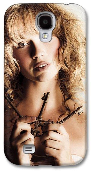 Strapless Dress Galaxy S4 Cases - Dreamy vintage beauty holding skeleton keys Galaxy S4 Case by Ryan Jorgensen