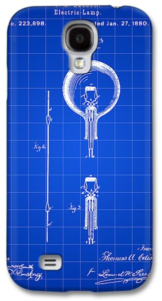 Light Bulb Galaxy S4 Cases - Edison Light Bulb Patent 1880 - Blue Galaxy S4 Case by Stephen Younts