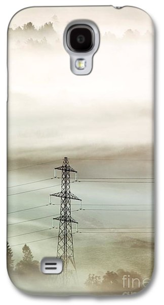 Temperature Inversion Galaxy S4 Cases - Electricity Pylon In Fog Galaxy S4 Case by Duncan Shaw