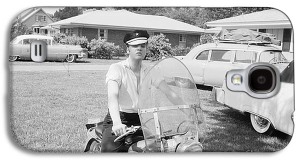 Elvis Presley Galaxy S4 Cases - Elvis Presley sitting on his 1956 Harley KH Galaxy S4 Case by The Phillip Harrington Collection
