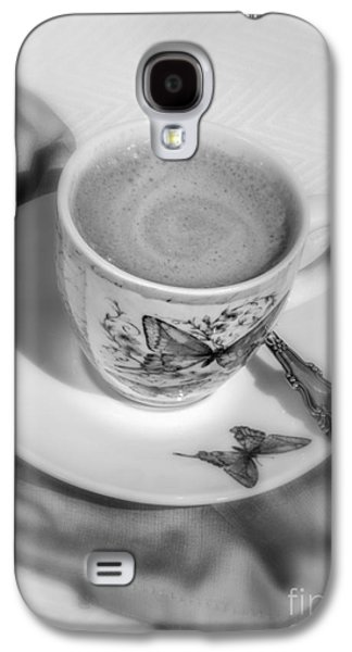 Balck Art Galaxy S4 Cases - Espresso in Butterfly Cup in Black and White Galaxy S4 Case by Iris Richardson