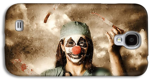 Juggling Galaxy S4 Cases - Evil surgeon clown juggling bloody knives outside Galaxy S4 Case by Ryan Jorgensen