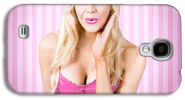 Secret Whispers Photographs Galaxy S4 Cases - Fantastic blond pinup girl with surprised look Galaxy S4 Case by Ryan Jorgensen