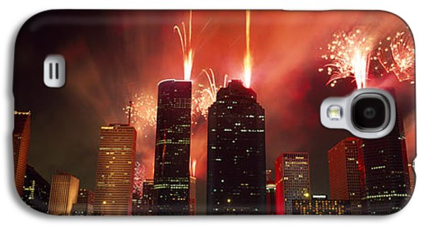 Fourth Of July Galaxy S4 Cases - Fireworks Over Buildings In A City Galaxy S4 Case by Panoramic Images
