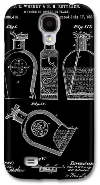 Wine Sipping Galaxy S4 Cases - Flask Patent 1888 - Black Galaxy S4 Case by Stephen Younts