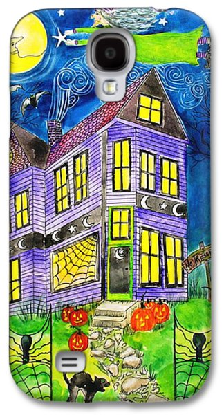 Wicca Paintings Galaxy S4 Cases - Flight of the Moon Witch on Hallows Eve Galaxy S4 Case by Janet Immordino