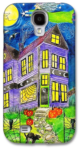 Haunted House Paintings Galaxy S4 Cases - Flight of the Moon Witch on Hallows Eve Galaxy S4 Case by Janet Immordino