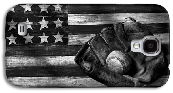 Folk Art American Flag And Baseball Mitt Black And White Galaxy S4 Case by Garry Gay