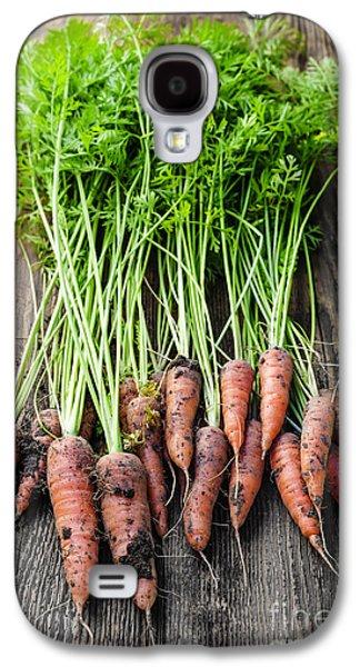 Rustic Galaxy S4 Cases - Fresh carrots from garden Galaxy S4 Case by Elena Elisseeva