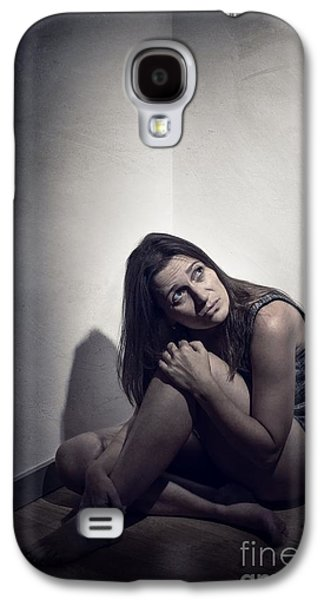 Melancholy Galaxy S4 Cases - Frightened Woman Galaxy S4 Case by Carlos Caetano