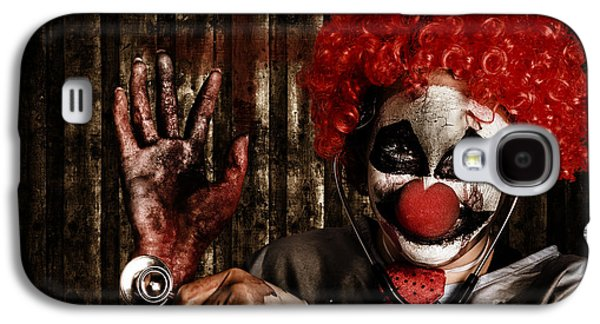 Recently Sold -  - Creepy Galaxy S4 Cases - Frightening clown doctor holding amputated hand  Galaxy S4 Case by Ryan Jorgensen