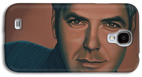 Ross Paintings Galaxy S4 Cases - George Clooney Galaxy S4 Case by Paul  Meijering