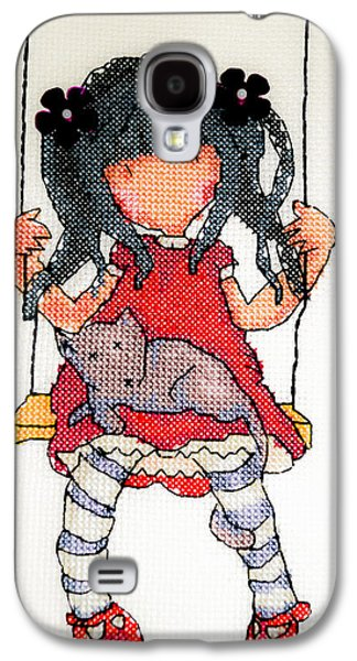 Drawing Pyrography Galaxy S4 Cases - Girl on swing Galaxy S4 Case by Sergio Ferreira