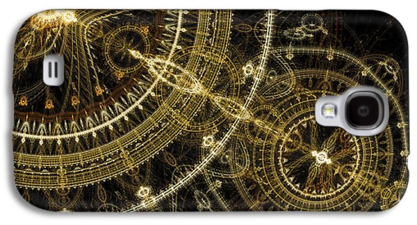 Machinery Galaxy S4 Cases - Golden abstract circle fractal Galaxy S4 Case by Martin Capek
