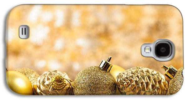 Pine Cones Photographs Galaxy S4 Cases - Golden Christmas  Galaxy S4 Case by Elena Elisseeva