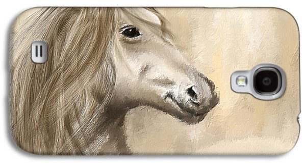 Kentucky Derby Galaxy S4 Cases - Gracious Wild- Cream And Brown Painting Galaxy S4 Case by Lourry Legarde
