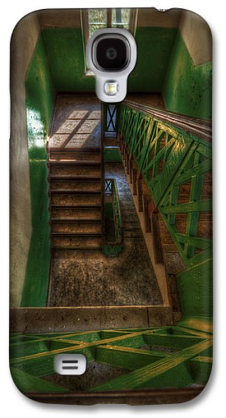 Wooden Stairs Galaxy S4 Cases - Green stairs Galaxy S4 Case by Nathan Wright