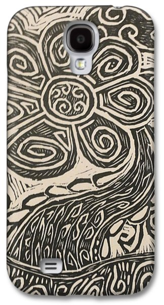 Linocut Drawings Galaxy S4 Cases - Grow into the light Galaxy S4 Case by Stephen Wiggins