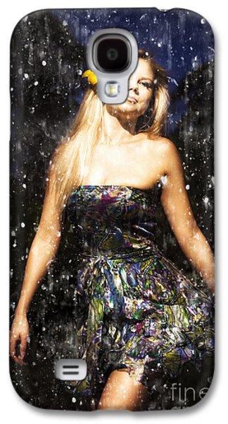 Strapless Dress Galaxy S4 Cases - Grunge Portrait Of Sexy Woman In Rain Galaxy S4 Case by Ryan Jorgensen