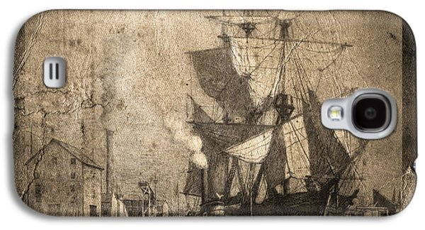 Historic Schooner Galaxy S4 Cases - Grungy Historic Seaport Schooner Galaxy S4 Case by John Stephens