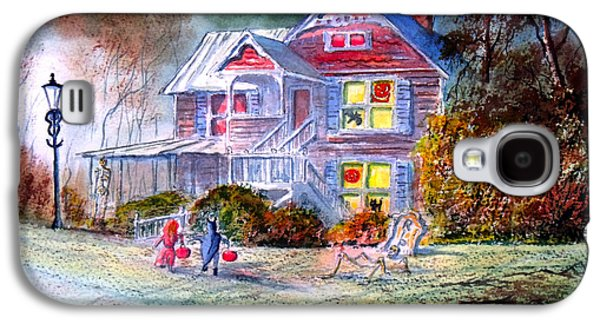 Haunted House Paintings Galaxy S4 Cases - Halloween Trick Or Treat Galaxy S4 Case by Bill Holkham