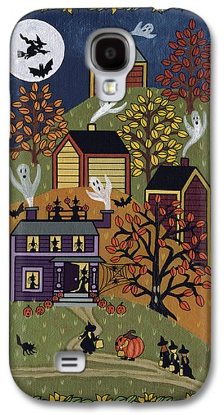 Haunted House Paintings Galaxy S4 Cases - Happy Halloween Galaxy S4 Case by Medana Gabbard