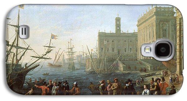 Claude Paintings Galaxy S4 Cases - Harbor Scene Galaxy S4 Case by Claude Lorrain