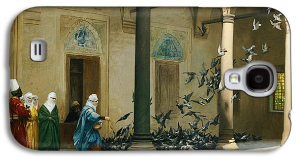 Orientalists Galaxy S4 Cases - Harem Women Feeding Pigeons in a Courtyard Galaxy S4 Case by Jean Leon Gerome