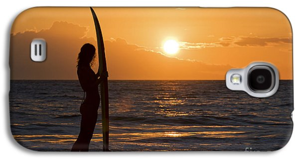 Monica Sweet Galaxy S4 Cases - Hawaii, Female Surfer On Beach Silhouetted Against Orange Sunset Over Ocean. Galaxy S4 Case by M Swiet Productions
