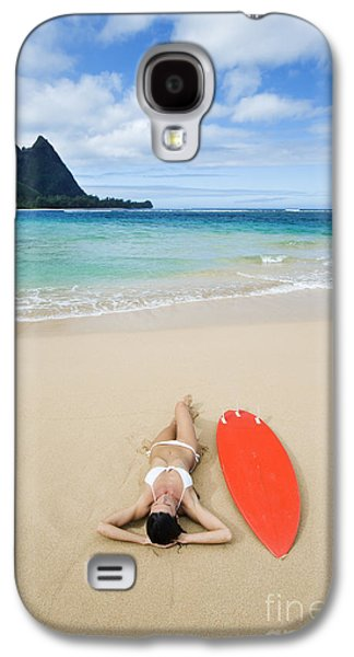 Monica Sweet Galaxy S4 Cases - Hawaii, Kauai, Haena Beach Tunnels Beach, Woman Laying On Beach With Surfboard. Galaxy S4 Case by M Swiet Productions