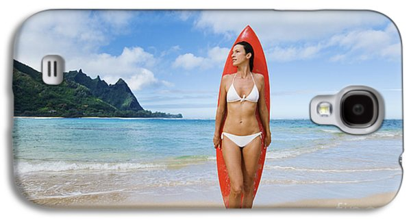 Monica Sweet Galaxy S4 Cases - Hawaii, Kauai, Haena Beach Tunnels Beach, Woman Standing On Beach With Surfboard. Galaxy S4 Case by M Swiet Productions