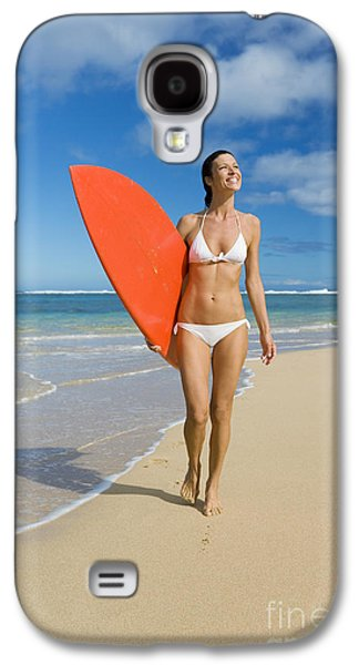 Monica Sweet Galaxy S4 Cases - Hawaii, Kauai, Woman Walking Along Beach With Beach With Surfboard. Galaxy S4 Case by M Swiet Productions